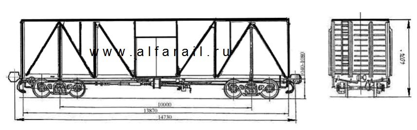 схема крытого вагона 11-066-11