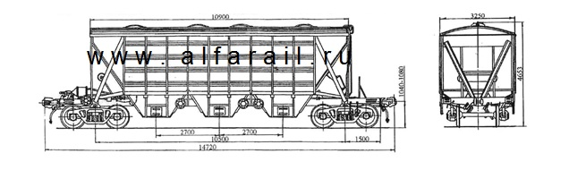 схема крытого вагона-хоппера