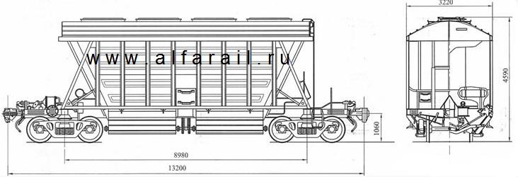 схема вагона-хоппера 11-740
