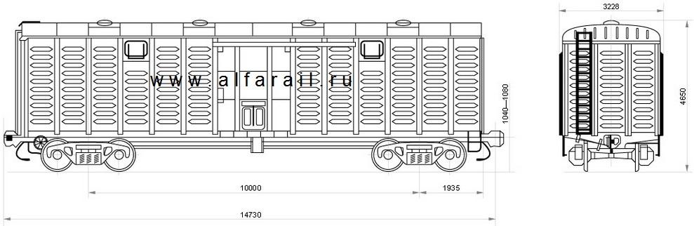 схема крытого вагона 11-К001